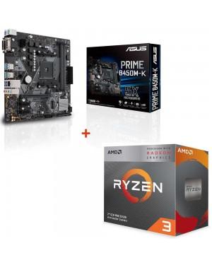 باندل مادربرد ایسوس PRIME B450M-K + پردازنده ای ام دی RYZEN3 3100