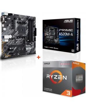 باندل مادربرد ایسوس PRIME A520M-A + پردازنده ای ام دی RYZEN3 3100