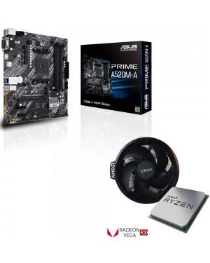 باندل مادربرد ایسوس PRIME A520M-A + پردازنده ای ام دی Ryzen 3 4300GE TRAY