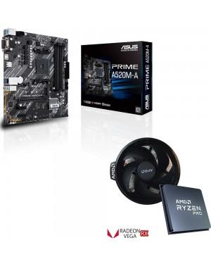 باندل مادربرد ایسوس PRIME A520M-A + پردازنده ای ام دی Ryzen 3 PRO 4350G TRAY