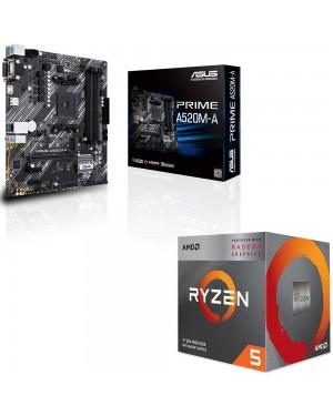باندل مادربرد ایسوس PRIME A520M-A + پردازنده ای ام دی RYZEN5 3400G