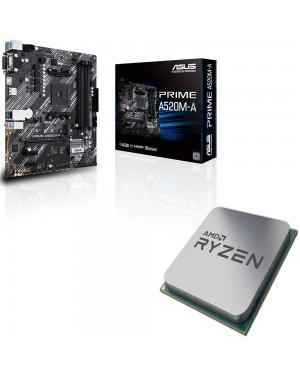 باندل مادربرد ایسوس PRIME A520M-A + پردازنده ای ام دی RYZEN5 3600X Tray