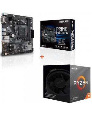 باندل مادربرد ایسوس PRIME B450M-K + پردازنده ای ام دی RYZEN5 3600