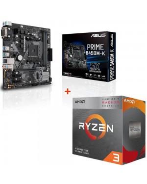 باندل مادربرد ایسوس PRIME B450M-K + پردازنده ای ام دی RYZEN3 3200G