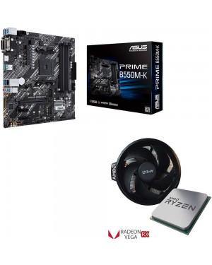 باندل مادربرد ایسوس PRIME B550M-K + پردازنده ای ام دی RYZEN5 3400G TRAY