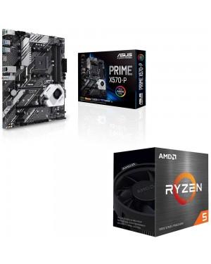 باندل مادربرد ایسوس PRIME X570-P + پردازنده باکس ای ام دی RYZEN 5 5600X