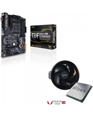 باندل مادربرد ایسوس TUF B450-PRO GAMING + پردازنده ای ام دی RYZEN5 3400G TRAY