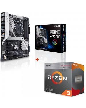 باندل مادربرد ایسوس PRIME X470-PRO + پردازنده ای ام دی RYZEN3 3100