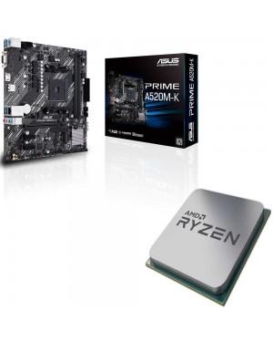 باندل مادربرد ایسوس PRIME A520M-K + پردازنده ای ام دی RYZEN5 3600X Tray