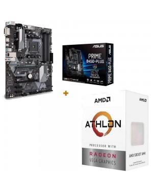 باندل مادربرد ایسوس PRIME B450-PLUS + پردازنده ای ام دی Athlon 3000G
