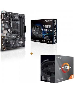 باندل مادربرد ایسوس PRIME B450M-A + پردازنده ای ام دی RYZEN3 3100