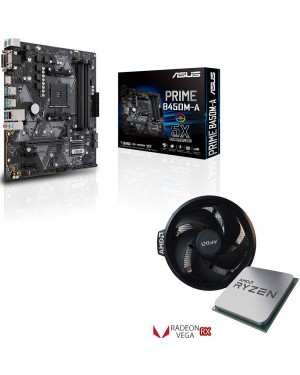باندل مادربرد ایسوس PRIME B450M-A + پردازنده ای ام دی RYZEN5 3400G TRAY