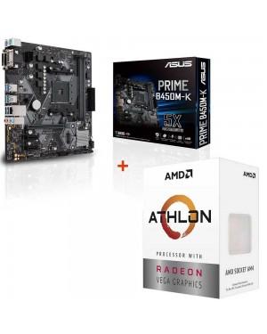 باندل مادربرد ایسوس PRIME B450M-K + پردازنده ای ام دی Athlon 3000G