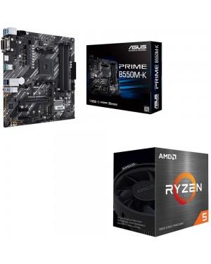 باندل مادربرد ایسوس PRIME B550M-K + پردازنده ای ام دی RYZEN5 5600X BOX