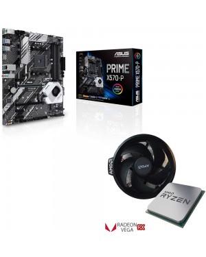 باندل مادربرد ایسوس PRIME X570-P + پردازنده ای ام دی RYZEN5 3400G TRAY