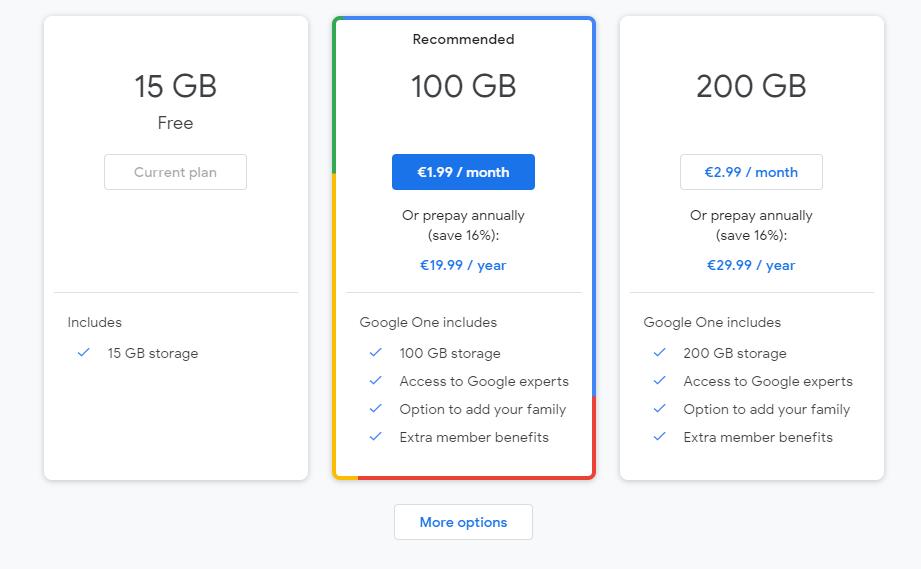 فضای ذخیره سازی رایگان گوگل